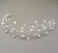 White Pearl Wedding Hair Vine Tiara Bridal Hair by BridalDiamantes, $58.00