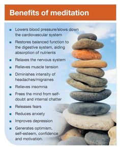 The benefits of meditation. Additionally, it helps create serotonin (which makes you happy) and strengthens your neo-cortex which is responsible for your willpower. How cool is that?!