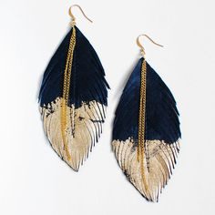 Feather Earrings Black