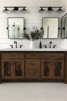 Searching for ways to create the perfect Modern Farmhouse? Or love the idea of mixing rustic and industrial decor? Look no further inspo and tips to help add value to your home at . Check out MODERN FARMHOUSE Must Have: Reclaimed Wood . for tons of dreamy Rustic Bathroom Designs, Rustic Bathrooms, Small Bathroom, Bathroom Ideas, Farmhouse Bathroom Sink, Shiplap Master Bathroom, Bathroom Vanity Mirrors, Dark Wood Bathroom, Industrial Bathroom Design