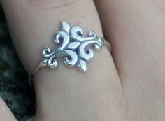 Sterling Silver Fleur de lys Ring sterling by CapturedIllusions