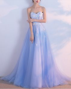 ef6797ab2ce Sweetheart blue tulle long prom dress with appliqués