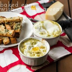 baked eggs with creamy greens & herbed toast | breakfast recipe from chattavore