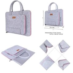 Felt Laptop Sleeve Bag Cover For Apple Macbook Pro 13.3 Inch Grey / Pink