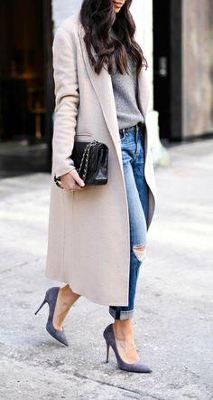 Boyfriend jeans and pumps.