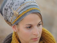 Gray Lace and Mustard- Tichel, tichel,Hair Snood, Head Scarf,Head Covering,jewish headcovering,Scarf,Bandana,apron on Etsy, $46.14