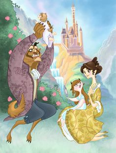 Another Beauty and the Beast painting. Continued from this one----> [link] A Beastly Family Picnic Disney Pixar, Disney And Dreamworks, Disney Animation, Disney Cartoons, Disney Characters, Disney Belle, Princesa Disney Bella, Disney Love, Disney Girls