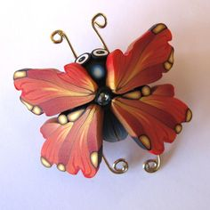 Bug Pin Bug Brooch Polymer Clay Butterfly in Burnt by Claybykim, $13.00