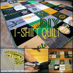 Faith in Fear: T-Shirt Quilt {Introduction} LOVE. This will be the steps I follow to make mine. She explaind each step perfectly and has a TON of pictures and a few videos to help!!