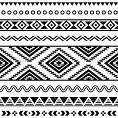 Tribal Seamless Pattern, Aztecb Black and White #GraphicRiver Vector seamless aztec ornament, ethnic pattern