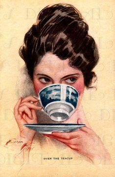 Over the Teacup, illustration by Harrison Fisher Vintage Cartoons, Vintage Ads, Vintage Images, Vintage Pictures, Book Art, Caravaggio, Retro Art, Altered Art, Pinup