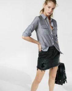 5420002231 thin stripe city shirt by express Express Women