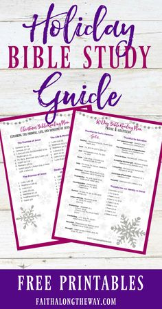 The Holiday Bible Study Guide makes it simple to connect with God through daily scripture readings meditations. Grab your free printable here! Bible Study Plans, Bible Study Guide, Free Bible Study, Bible Study For Kids, Bible Study Journal, Study Guides, Kids Bible, Bible Art, Scripture Reading