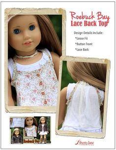 Liberty Jane Roebuck Bay Lace Back Top Doll Clothes Pattern 18 inch American Girl Dolls   Pixie Faire