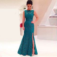 Find More Evening Dresses Information about Abendkleider Long Lace Gown Teal For…