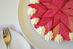 white chocolate, ginger and rhubarb no-bake cheesecake