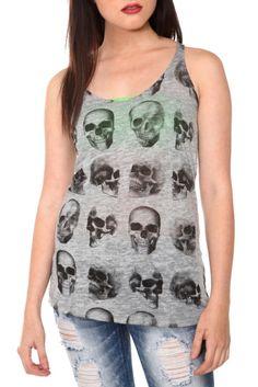 Grey Skull Racer Back Girls Tank Top   Hot Topic