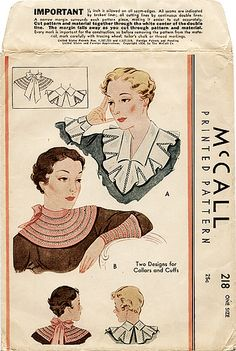 McCall  218 | 1930s Collars and Cuffs