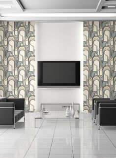 Curves Ahead Wallpaper in Cream, Ivory, and Soft Blue by York Wallcoverings