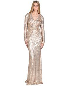 08dcbbdd20 Sequined Long-Sleeved V-Neck Evening Gown Bride Dresses