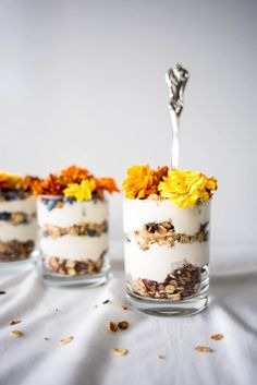 Granola Parfaits with Home-made Chamomile Yogurt and Edible Flowers via Butter and Brioche