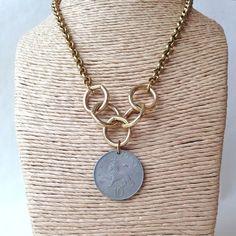 Silver Coin Necklace- Vintage 1968 Lion Pendant – Laura James Jewelry