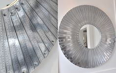 78 Rulers Upcycled Into Modern Mirror #Design, #Mirror, #Ruler, #Upcycled