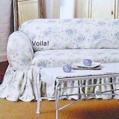 Rachel Ashwell SOFA Slipcover Blue British Rose Simply Shabby Chic Couch
