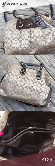 Authentic Coach Ashley Signature Carryall Beautiful tan/brown with the signature C ✨ Brown lining on the inside ✨ Double straps and long detachable strap ✨ No flaws inside or outside ✨ Ships within 24 hours ✨ Pet/smoke free home Coach Bags Shoulder Bags