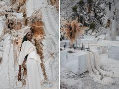 M A R M O | Bridal Editorial in Carrara - Stefano Santucci Studio Greek Statues, Haute Couture Dresses, Bridal Boudoir, In Ancient Times, Carrara, Minimal Design, Great Artists, Body Painting, Editorial