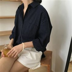 Solid Fashion Long Sleeve Striped Shirts - Leloye Source by long sleeve Classy Outfits, Casual Outfits, Fashion Outfits, Fashion Styles, Fall Fashion, Formal Smart Casual, Striped Long Sleeve Shirt, Striped Shirts, Korean Outfits