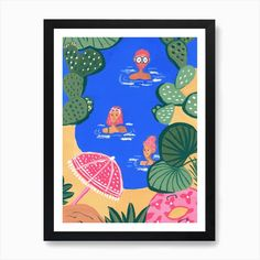 Swimming In The Sea I Art Print by Mariasara Pattern Design - Fy Italian Home, Wooden Frames, Pattern Design, Fine Art Prints, Swimming, Sea, Paper, Swim, Wood Frames