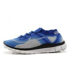 Nike Free Flyknit 5.0 Mens Shoes Blue / White / Black $88