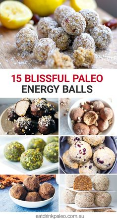healthy snacks - 15 Blissful Paleo Bliss Balls Irena Macri Food Fit For Life Paleo Energy Bites, Protein Bites, Protein Energy, Vegan Energy Balls, Vol Au Vent, Clean Eating Recipes, Raw Food Recipes, Healthy Recipes, Bariatric Recipes