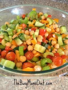 Chick Pea And Veggie Salad With A Garlic Cilantro Lime Dressing #recipe#diet#healthy!! | Recipe Hut