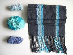 Handwoven Grey and Blue Scarf Cotton and by SameheartDesigns, $108.00