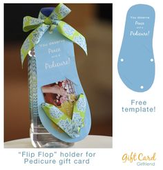 #BestGiftsAreHomemade GiftCards.com Mother's Day Contest. Total Inspiration! Make a gift card holder in the shape of a Flip Flop for a pedicure gift card! #FreePrintable!