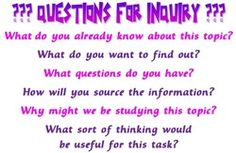 Questions for inquiry poster @ @ margdteachingposters.weebly.com
