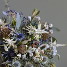Winter bouquet for Jo last weekend @farnhamcastleweddings - Astilbe Eryginum Dried Lavender Scabious seed heads Waxflower and herbs . Just resting up after a totally epic weekend of family wedding Love in Somerset