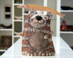Ceramic Cat Hand painted cat Cat sculpture Pottery by GappaPottery:
