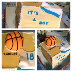 Baby shower basketball cake by  Sweet Cheers