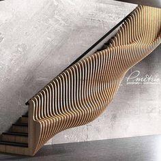 Que escada fabulosa hein? Modern Staircase Escada fabulosa h… - Popular Stair Handrail, Staircase Railings, Staircase Design, Stairways, Open Staircase, Staircase Remodel, Staircase Ideas, Banisters, Parametric Architecture