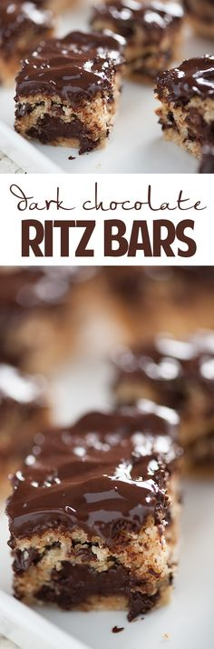 Could make these for those of my family who like dark chocolate.or use milk chocolate chips instead for those of us who don't! :) Dark Chocolate Ritz Bars - an easy dessert full of Ritz crackers and chocolate! Brownie Desserts, Oreo Dessert, Mini Desserts, Dessert Bars, Chocolate Desserts, Easy Desserts, Delicious Desserts, Yummy Food, Chocolate Bars