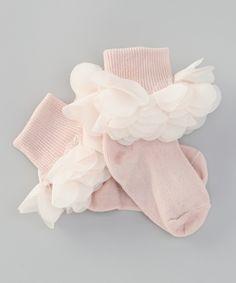 Pale Blush Pretty Posy Socks//
