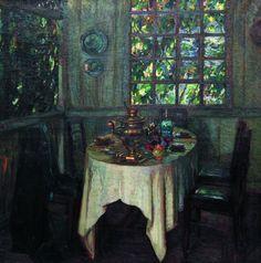 Painting with samovar by S. Zhukovskij