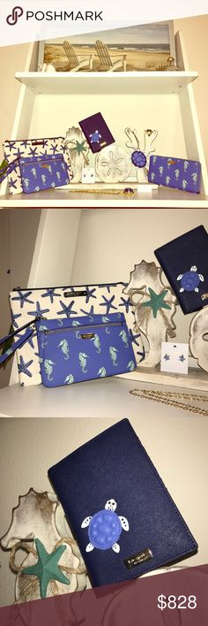 """TAKE 40% OFF 🐚 Kate Spade """"Under The Sea"""" Bundle ✨ Kate Spade """"Under The Sea"""" Bundle NWTs • Debuted March 2017 • Gia Pouch $69, Wristlet $119, Passport Holder $99, Key Chain $58, Wallet $189, Earrings $48, Necklace $148 & Size 8 Ring $98 • WILL SELL SEPARATELY • smoke/pet free home • 20% donated to the American Cancer Society 🐢 30% OFF ENTIRE CLOSET of Full Priced Items thru Monday! Also 2-3 items get 35% off & 4+ items get 40% off! Must ask me to reduce price prior to paying. 🐢 Thanks…"""