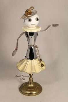 """""""Jacqueline"""" ~ Found object, junk art created by Laurie Schnurer in 2016.  To purchase one of Laurie's Creatures click on this link to her sales page. https://www.facebook.com/LauriesCreatures/"""