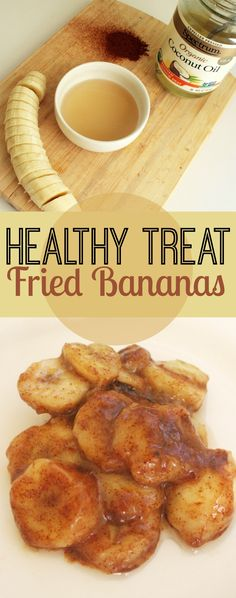 Healthy treat?! Repin if you're in! 1 banana sliced, 1 tbsp agave nectar, cinnamon to taste, 1 tbsp coconut oil. Heat oil in skillet, place bananas in pan & cook for 2 mins each side, whisk together agave & 1 tbsp water- remove pan from heat and pour agave mixture over bananas. Sprinkle cinnamon and enjoy!