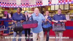 Oh yeah, we got the Bagel Man from Hot Bagels Factory Inc-Marx to do the #DuffleShuffle! You're up, Bill Cunningham and Andy Furman from 700WLW! We want to see our small businesses and media send love and support to kids in foster care!
