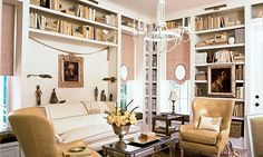 Overwhelmed by clutter? 20 built-in storage ideas  Cottage parlor  Floor-to-ceiling bookshelves with contrasting interiors accentuate the high ceilings in this cottage parlor.  MyHomeIdeas: Clear the clutter in one month      Bing Cube: View tiny apartments      MSN Lifestyle: Make the most of small spaces      Video: How to make a small room look bigger